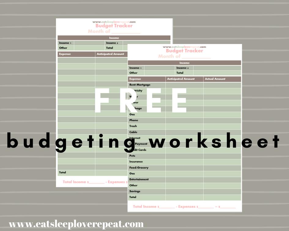free printable budget worksheet eat sleep love repeat